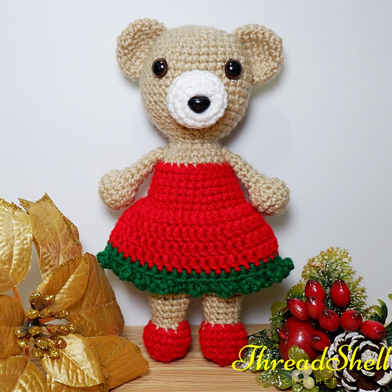 Christmas Teddy Bear (Free Amigurumi Patterns) | Crochet teddy ... | 768x768